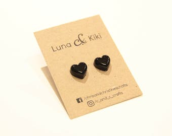Heart studs earrings love quirky gift play love grunge gothic goth sweetheart cute kawaii pretty girlfriend wife girl gold silver jewellery