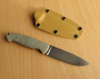 Colleague knife, Fixed blade, Green canvas micarta