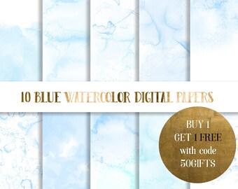 Blue Watercolor Digital Paper,  baby blue watercolor paper, watercolor texture, watercolor background, scrapbooking paper, pastel watercolor