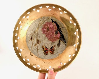 Vintage Brass Bowl with Enamel design and cutout Hearts