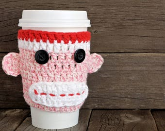 Crochet Pink Sock Monkey Cup Cozy