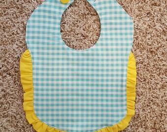 Toddler Bib - Aqua Gingham with Yellow Ruffles