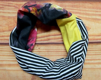 Infinity scarf reversible 6-36 months - flowers and striped - recycled