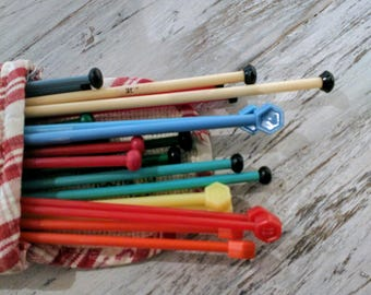 Vintage Knitting Needles x11 pairs with Cross Stitch Cover