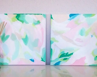 Abstract Pastel Diptych Print Set - 2 Giclee Prints of Original Acrylic Paintings. Pink & Green Home Decor. Cheery Art. Pastel Wall Decor