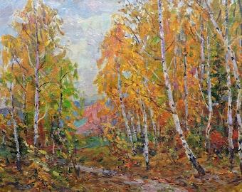 AUTUMN FOREST LANDSCAPE, Vintage Original Oil Painting by a Soviet Ukrainian artist M.Borymchuk, 1970's, Woodland scenery, Impressionist art