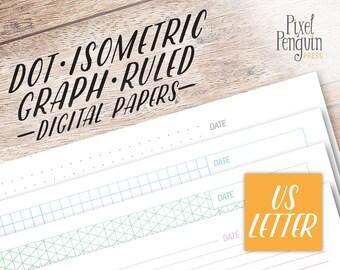Printable Dot Grid Paper, US Letter Binder Paper Printable Planner Refill, Graph Paper Printable, Bullet Journal Template Letter Size Insert