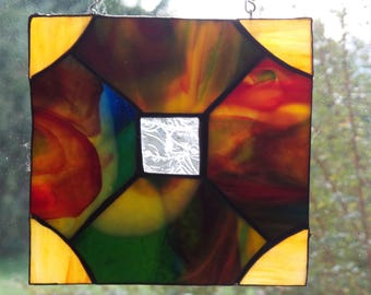 Stained Glass Suncatcher/Square/Geometric/Sunburst/Art Deco Style/Rare Glass