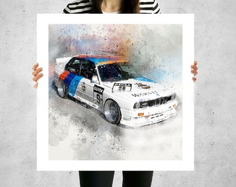 BMW, E30, M3, bmw poster, bmw gift, bmw print, retro car poster, car gift, race car clipart, instant download, car painting, car portrait