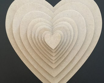 Pack of 25 Wooden MDF Heart Embellishments
