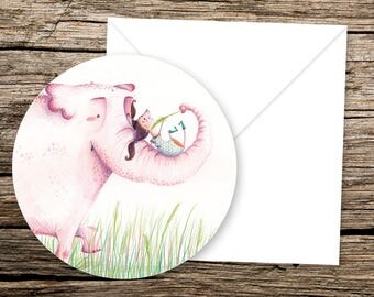 Art Card Pink Elephant and Girl playing + envelope