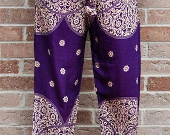 Purple Paisley Handmade Harem Pants
