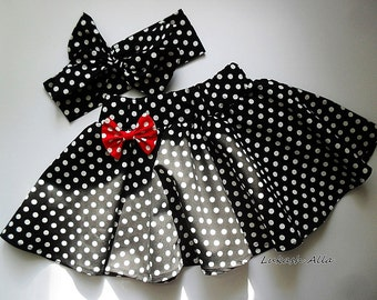 Red black Minnie mouse 1st birthday little Princess,the holiday kit, skirt for girls, theme party.