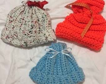 Newborn Crocheted Baby Hats