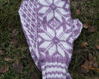 Purple and white flowered glove