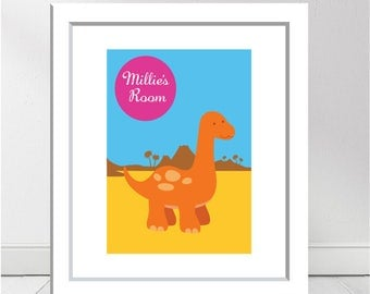 Cute Baby Dino' Childrens Room Personalised Print