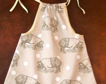 """Hand Made """"Piggy"""" Cotton Dress - 12-18 months"""