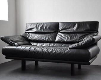 Designer Sofa, Black Leather Sofa, B&B Italia 1980, Vintage Lounge