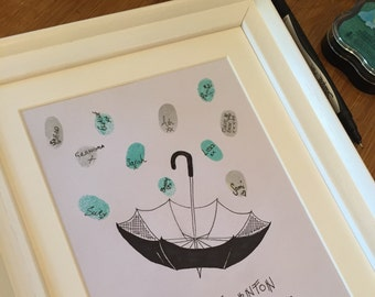 Baby Shower Fingerprint Art - Keepsake gift - guestbook -