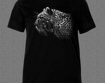 Leopard Panther Predator Wildlife Safari Animal black T-shirt