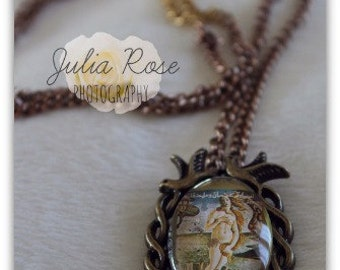 Birth of Venus stamp pendant necklace