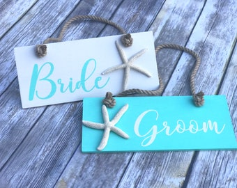 Bride and Groom Wedding Wooden Signs, Beach Theme Wedding Chair Signs, Bride and Groom Signs