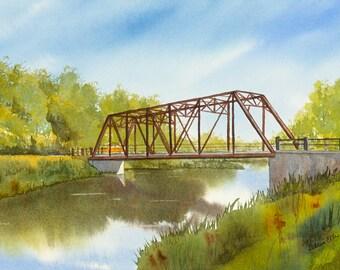 Black Bridge in summer - watercolour - giclee print - reflections - Hespeler - Cambridge - river - bridge - watercolour print