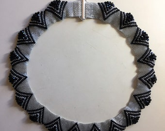"Silver and Black handmade beaded 20"" necklace"