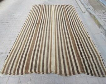 6.8x12 Ft  Naturel brown striped vintage handwoven Turkish kilim rug