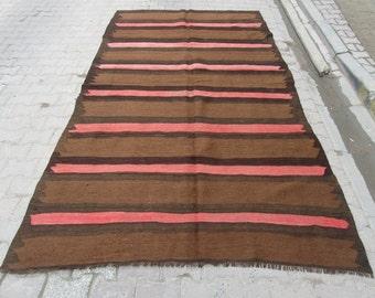 6x10.2 Ft Coral striped brown Turkish kilim rug