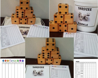 YARDZEE Farkle Yahtzee Cedar Dice game FREE SHIPPING with Laminated Score Cards Available in Bag or Bucket Label