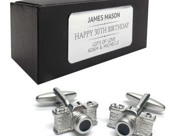 Camera photographer CUFFLINKS 30th, 40th, 50th, 60th, 70th birthday gift, presentation box PERSONALISED ENGRAVED plate - 078