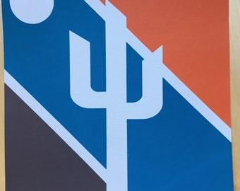 Cactus Screenprint, Orange/Brown/Blue Cactus, Saguaro Print, Sonoran Art, Cactus Art
