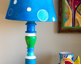 Upcycled Blue/Green/Teal Dotted Table Lamp w/Handmade Dotted Fabric Lampshade