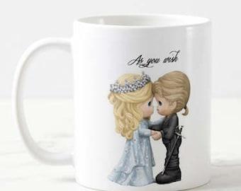 As you wish, Precious Moments, Coffee Mug, Coffee Cup, 110z, Printed, Custom, Cute, Gift, Family, Princess Bride
