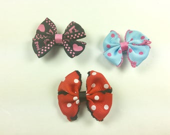 3 Handmade Hair Bows  Red Light Blue Black Polka Dots Hearts