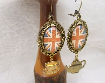 Steampunk Afternoon Tea Union Jack Earrings