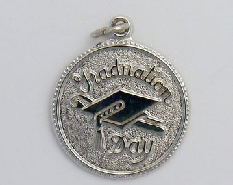 Silver Graduation Day Cap with Tassel Charm
