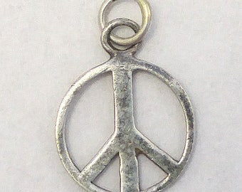 Vintage 1970's Peace Sign Charm in Sterling Silver 925