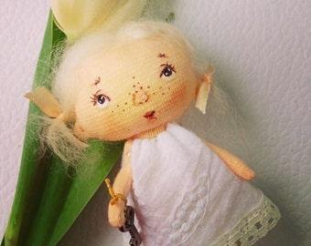 spring angel doll, brooch doll,textile doll, rag doll, brooch angel, handmade toy,tilda doll pattern,brooch doll, soft angel