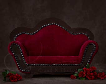 Newborn Digital Backdrop, Red Couch With Flowers