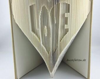 folded book-Herz font LOVE-book sculpture - art book