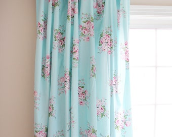 Aqua Turquoise Blue Pink Cottage Shabby Chic Rose Ruffle Cotton Ribbon Bow Ties Curtain