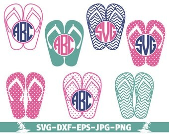 Summer Flip Flops SVG Cut Files - Monogram SVG Files Flip Flop, Screen Printing, Silhouette, Die Cut Machines, & More