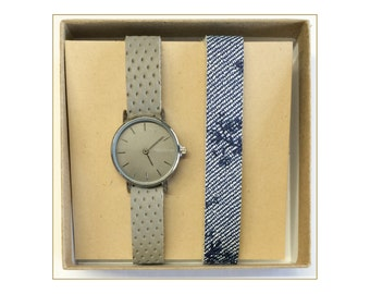 Women's duo - watch woman with gray interchangeable bracelets and flowers jeans watch