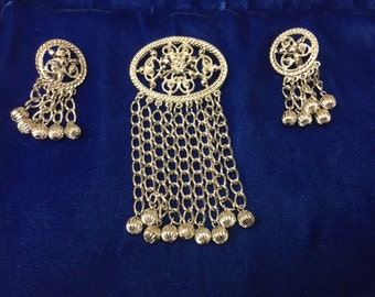 Costume Vintage Silver Toned Brooch/Pin and Earring Set