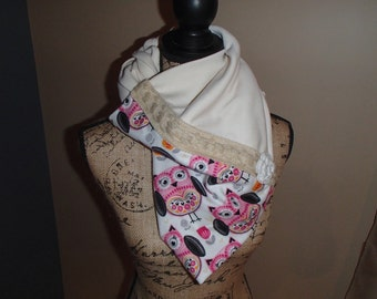 Owl patterned infinity style scarf