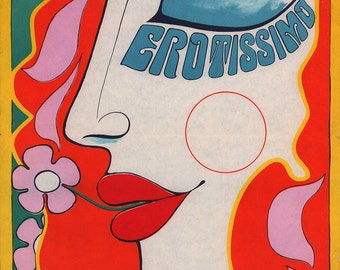 Erotissimo 1969 Original Psychedelic Czech Movie Poster