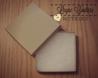 "5 Jewelry Boxes - 3 1/2"" x 3 1/2"" x 1"" In Kraft Color / Bracelet Box / Earring Box"