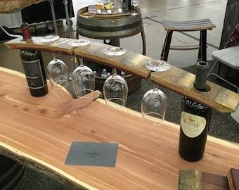 Full barrel stave wine glass display